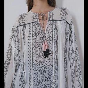 NWT Zara Printed White Blouse With Drawstring